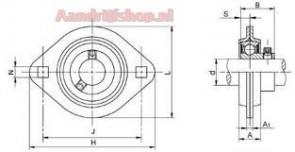 Bearing unit SBPFL 205